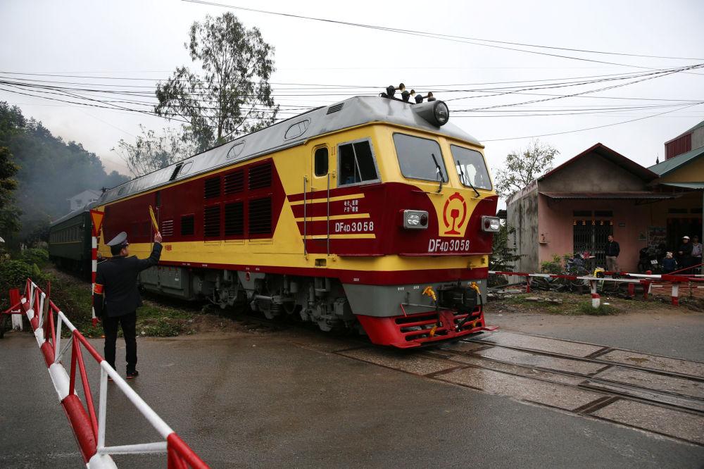 Vlak, kterým přijel vůdce KLDR Kim Čong-un