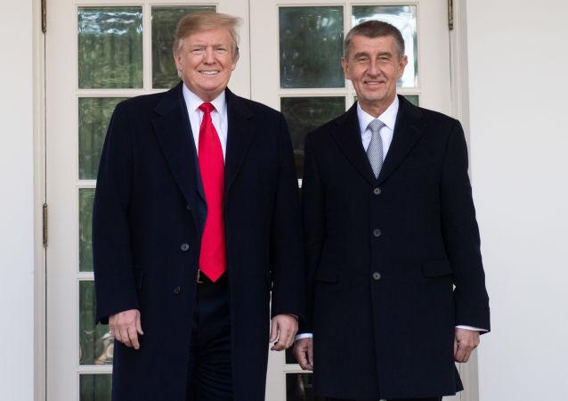 Premiér ČR Andrej Babiš a americký prezident Donald Trump ve Washingtonu (dne 7. března 2019).
