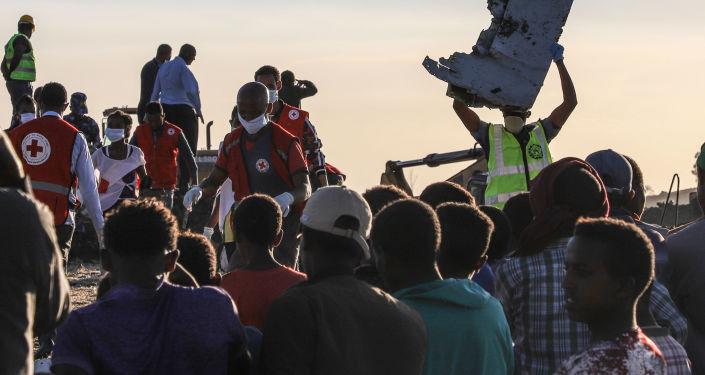 Místo havárie letadla Boeing 737 MAX v Etiopii