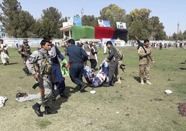 Následky výbuchu v afghánské provincii Hilmand během oslav dne farmáře