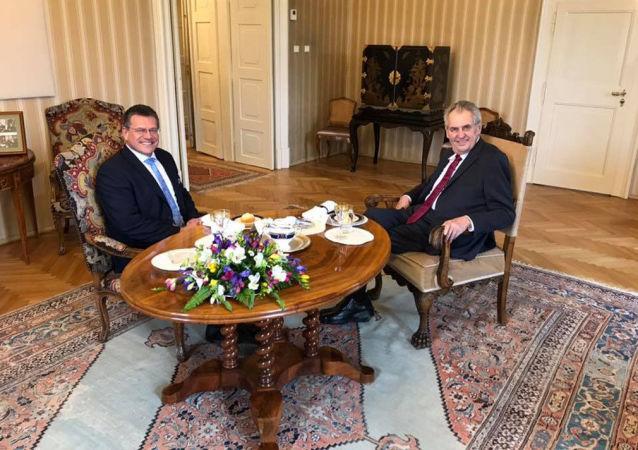 Slovenský kandidát na post prezidenta Maroš Šefčovič se setkal s prezidentem ČR Milošem Zemanem