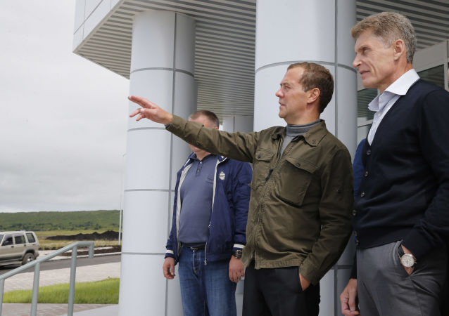 Ruský premiér Dmitrij Medveděv na Kurilských ostrovech