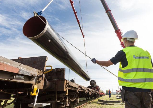 Stavba plynovodu EUGAL v Německu
