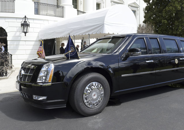 Cadillac Donalda Trumpa před Bílým domem