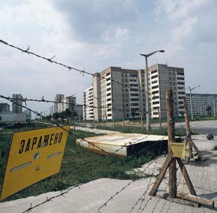 Oplocení na ulicích města Pripjať po havárii na Černobylské jaderné elektrárně