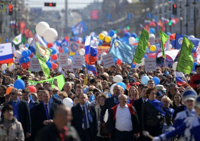Mítink 1. května v ruském Petrohradě.