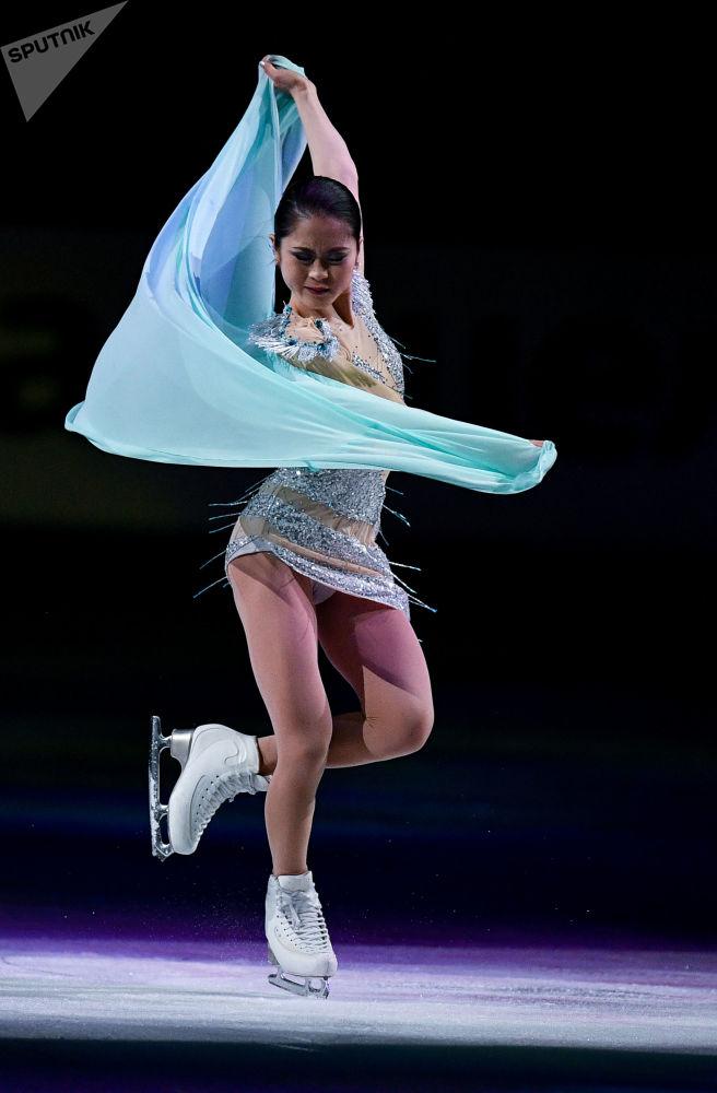 Japonská krasobruslařka Satoko Miyahara na mistrovství světa v krasobruslení v Saitamě, Japonsko