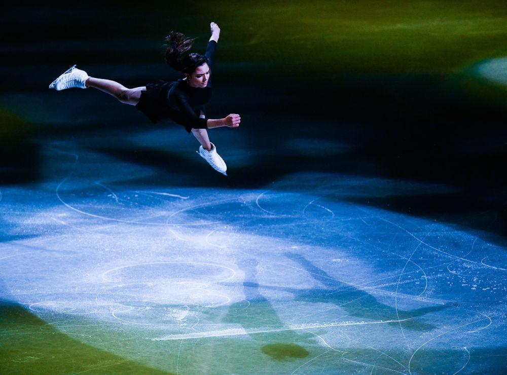 Ruská krasobruslařka Evgenija Medveděvová na Mistrovství světa v krasobruslení v Saitamě, Japonsko