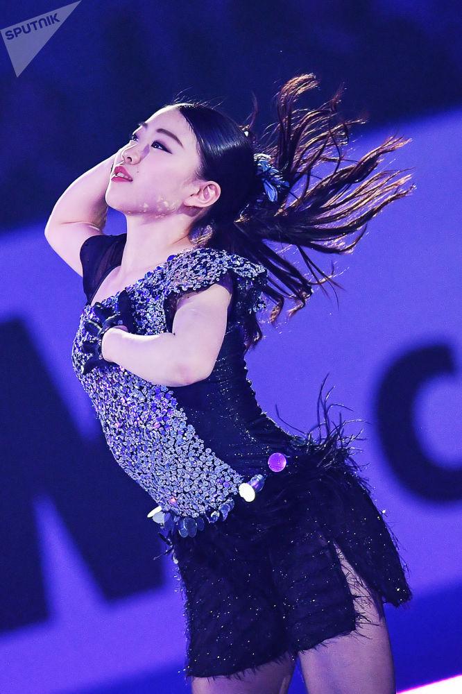 Japonská krasobruslařka Rika Kihira na mistrovství světa v krasobruslení ve městě Fukuoka, Japonsko