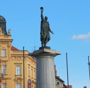 Pomník vítězství na Mariánském náměstí. Znojmo, Česko