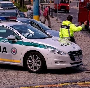 Policejní auto na ulici Brastislavy. Archivní fotografie