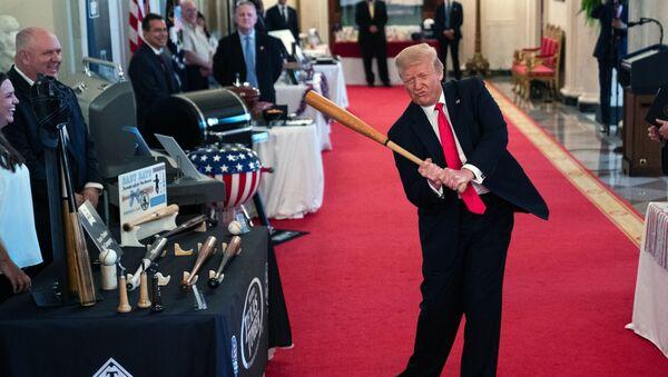 Americký prezident Donald Trump mává baseballovou holí v Bílém domě - Sputnik Česká republika