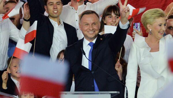 Andrzej Duda během voleb polského prezidenta - Sputnik Česká republika