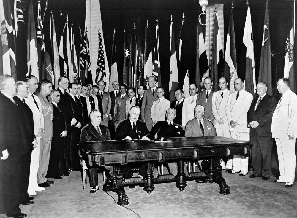 Podepsání Deklarace Spojených národů, r. 1942.