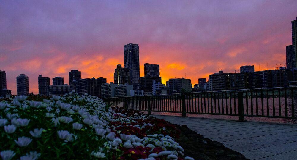 Západ slunce v Tokiu