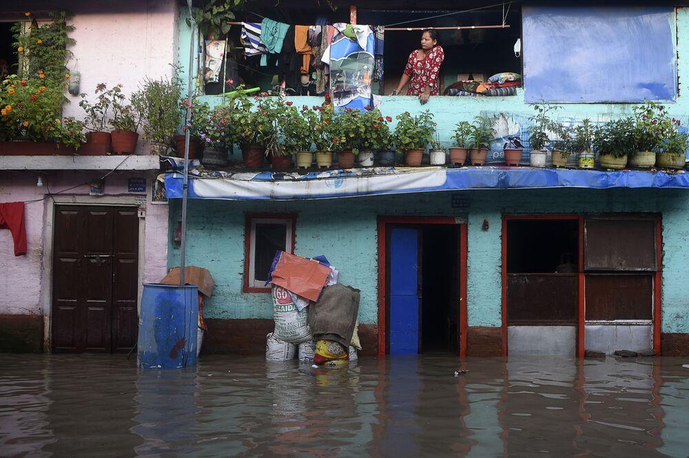 Následky povodně v Káthmándú, Nepál.