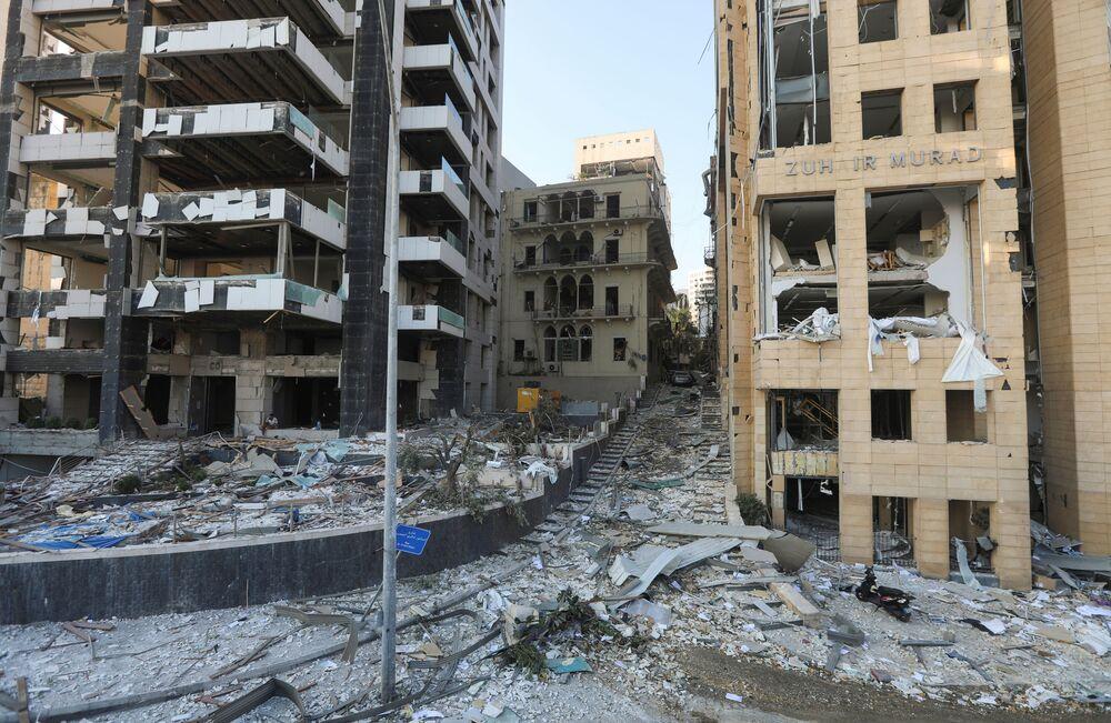 Pohled do ulic Bejrútu po výbuchu v přístavu
