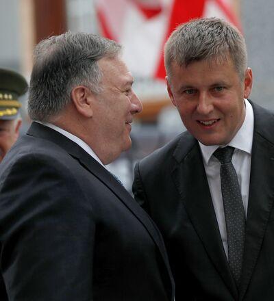 Mike Pompeo s Tomášem Petříčkem v Plzni