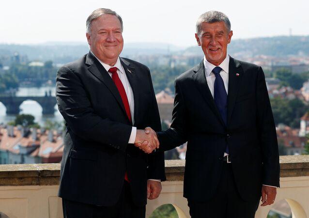 Mike Pompeo v Praze s premiérem Andrejem Babišem