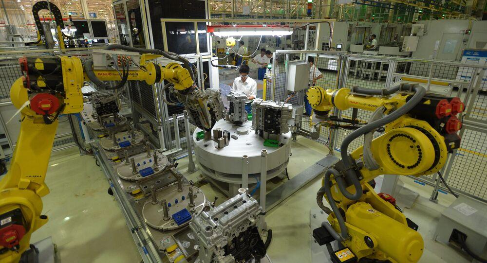 Roboty na závodě v Číně