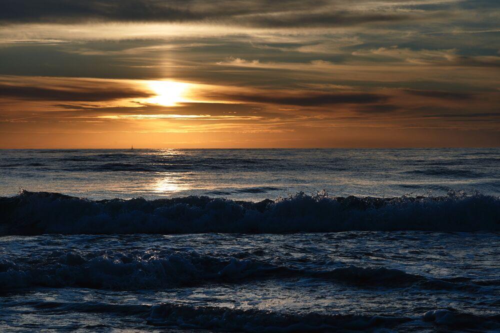 Západ slunce nad Baltským mořem.