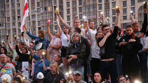 Protestní akce u televizního centra v Minsku - Sputnik Česká republika