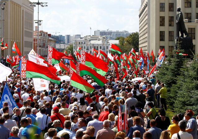 Shromáždění na podporu Lukašenka v Minsku