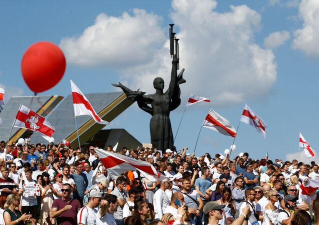 Protesty opozice v Minsku (16. 08. 2020)