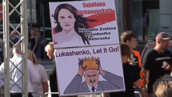 V Praze probíhá demonstrace Svobodné Bělorusko 2020  - Sputnik Česká republika