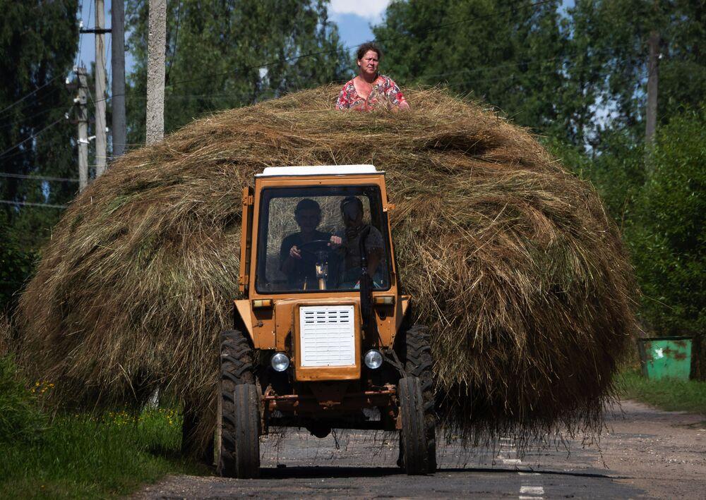 Žena na kupce sena v obci Sera, Moskva.