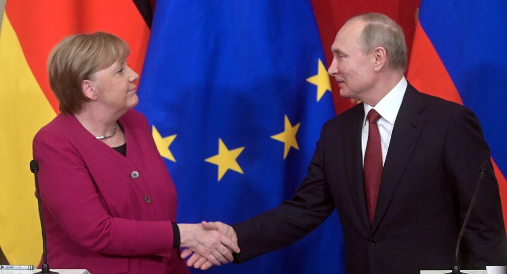 Německá kancléřka Angela Merkelová a ruský prezident Vladimir Putin v Moskvě