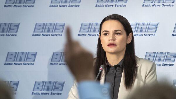 Světlana Tichanovská na tiskové konferenci ve Vilniusu - Sputnik Česká republika