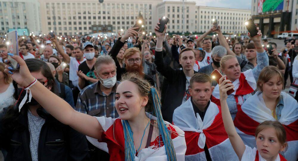 Dnešní protestní akce opozice na náměstí Nezávislosti v Minsku