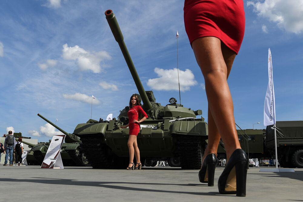 Tank T-55A na výstavě na Mezinárodním vojensko-technickém fóru ARMY 2020 ve vojensko-vlasteneckém parku Patriot