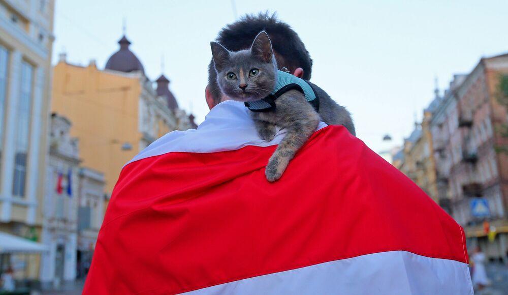 Akce v Kyjevě na podporu demonstrantů v Bělorusku