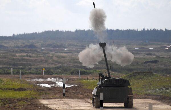 Samohybné dělo 2S34 Chosta provádí cvičné střelby na polygonu Alabino v Moskevské oblasti v rámci Mezinárodního vojensko-technického fóra ARMY 2020  - Sputnik Česká republika