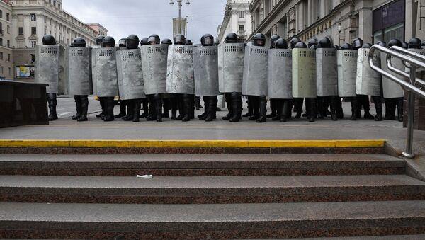 Policejní složky během nedělních protestů v Minsku - Sputnik Česká republika