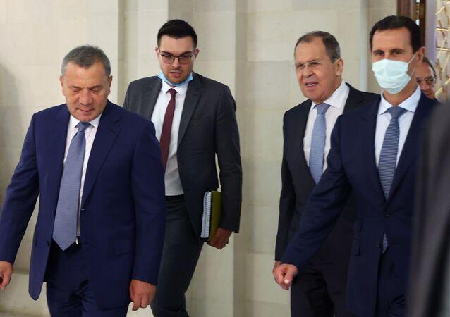 Ruská delegace za účasti ruského vicepremiéra Jurije Borisova a ministra zahraničí Sergeje Lavrova na návštěvěSýrie.