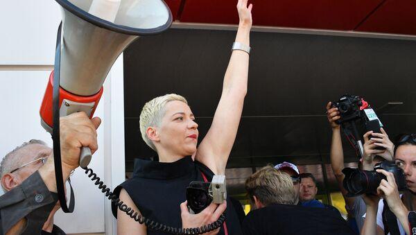 Běloruská opoziční politička Marija Kolesnikovová na demonstraci v Minsku - Sputnik Česká republika