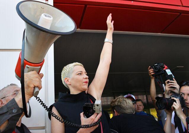 Běloruská opoziční politička Marija Kolesnikovová na demonstraci v Minsku
