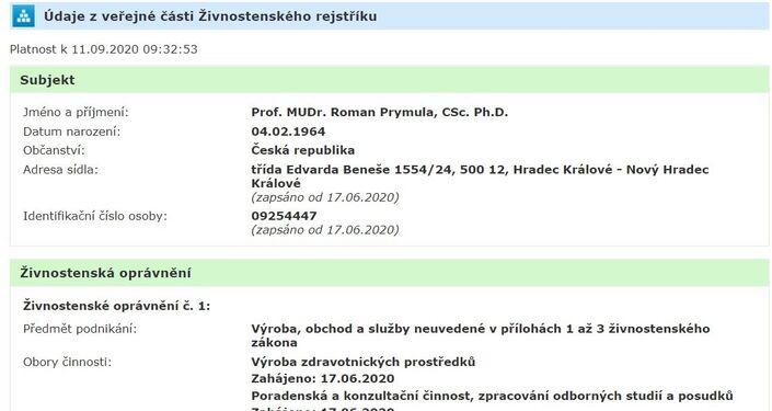 Výřez z veřejné části Živnostenského rejstříku Romana Prymuly
