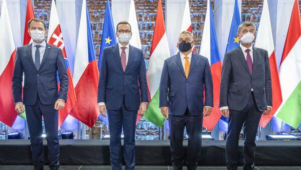Premiéři zemí V4: Igor Matovič, Mateusz Morawiecki, Viktor Orbán a Andrej Babiš na summitu v Lublinu (11. 9. 2020) - Sputnik Česká republika