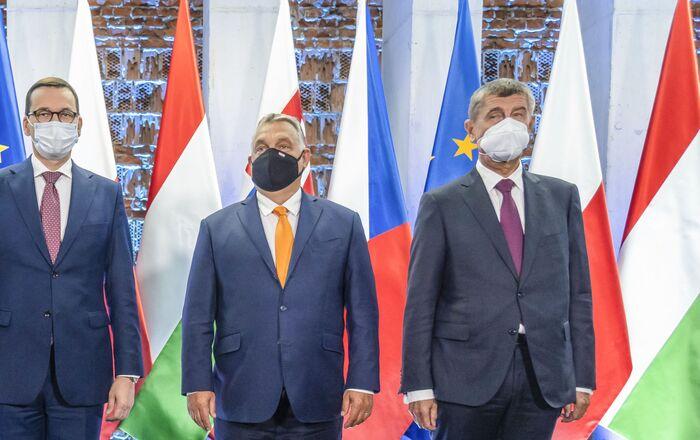 Premiéři zemí V4: Igor Matovič, Mateusz Morawiecki, Viktor Orbán a Andrej Babiš na summitu v Lublinu (11. 9. 2020)