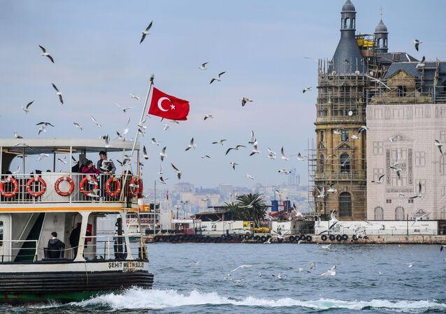 Turecká vlajka v Istanbulu
