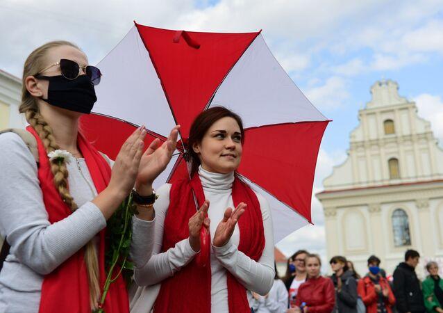 Protestní akce žen  v Minsku