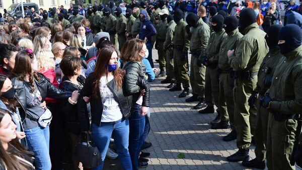 Protesty v Minsku proti prezidentovi Alexandru Lukašenkovi - Sputnik Česká republika