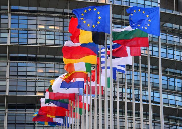 Vlajky členských zemí EU před budovou Rady Evropy v Štrasburku