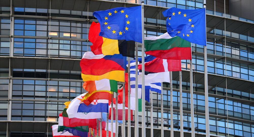 Vlajky členských zemí EU před budovou Rady Evropy ve Štrasburku