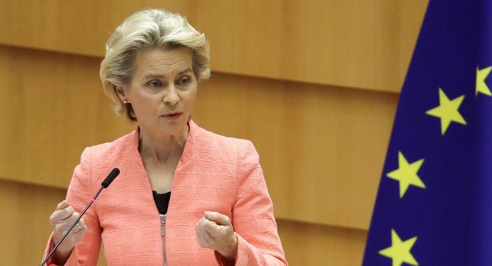 Předsedkyně Evropské komise Ursula von der Leyenová promluvila o stavu Evropské unie v Evropském parlamentu (16. 09. 2020)