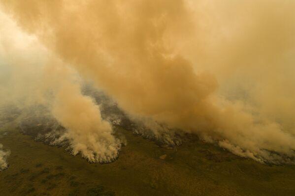 Pohled shora na hořící území v Brazílii  - Sputnik Česká republika